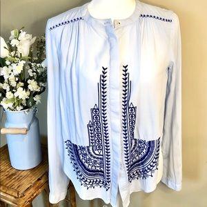 Anthro Alekemi Kin light blue soft blouse XS